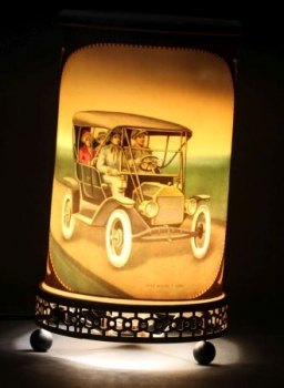 Ford Model T - Stutz Bearcat Original Econolite Motion Tischlampe 1957 mit Rotation und Messingsockel (0274)